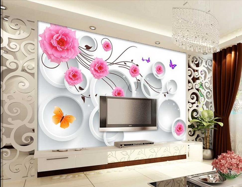 customize wallpaper papel de parede hd pink 3d circle. Black Bedroom Furniture Sets. Home Design Ideas