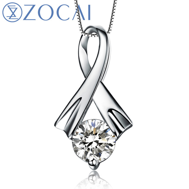 ZOCAI Grace Real Natural 0.23 ct I-J / SI Diamond Solid 18K White Gold Pendant with 925 Sterling Silver Chain Necklace D00187