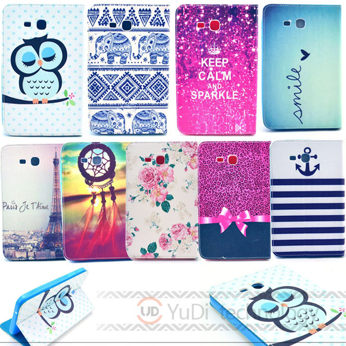 Flowers Owl Eiffel Tower PU Leather Stand Case Cover Samsung Galaxy Tab 3 Lite 7.0 T110 T111 7 inch tablet Accessories YD - Yudi-best store