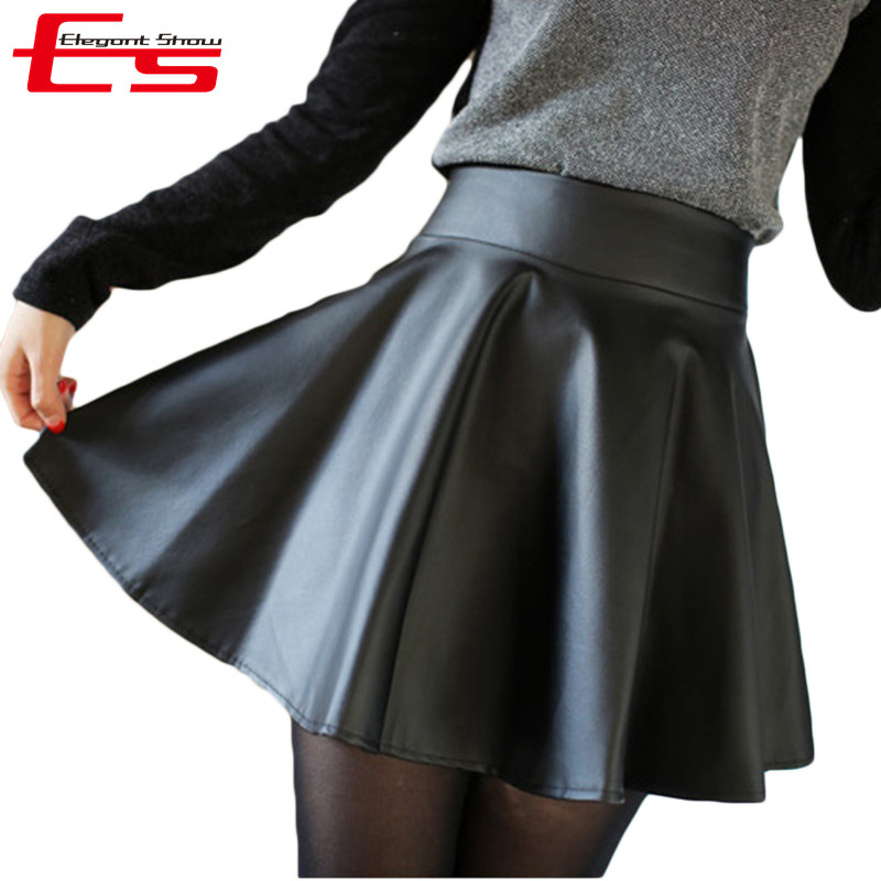 SALE Skirts Womens 2016 Winter Leather Skirt Fashion Black High Waist PU Short Women Pleated Saias - Elegant Show store