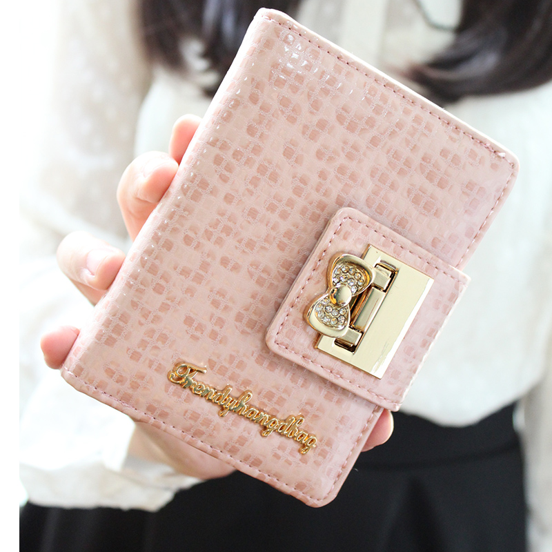 2014 new Korean bow Lovely Ladies Long Wallet Billfold Wallet Purse multifunctional multi screens(China (Mainland))