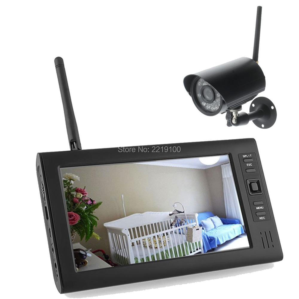 """2.4G Wireless monitoring system 4CH Quad DVR 4 Camera with Anti-theft security equipment 7""""TFT LCD Monitor Home Security System(China (Mainland))"""