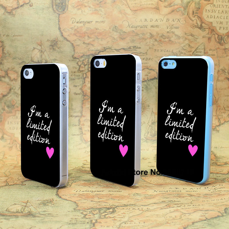 I'm a limited edition (2) Design hard transparent clear Skin Cover Case for iPhone 4 4s 4g 5 5s 5g 5c(China (Mainland))