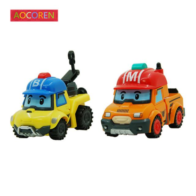 Aocoren 2 шт./лот Robocar поли МАРК БАКИ Корея Трансформации Игрушки Робот Автомобилей Аниме Фигурку Детей Игрушки Подарки