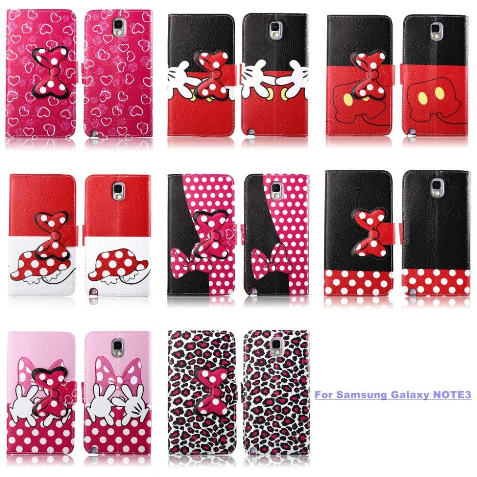 Fashion Cute Cartoon Mouse Mickey Minnie Wallet Stand Flip Leather Case Cover Samsung Galaxy Note 3 N9000 N9005 - Store( store)