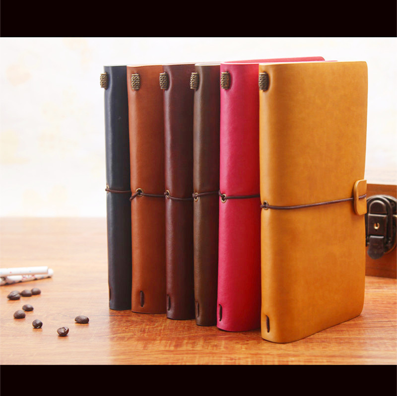 6 Colors Leather Bound Notebook Travel Journal Handmade Memory Vintage Style Diary School Supplies Notepad 1471(China (Mainland))