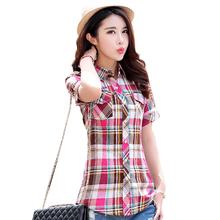 2016 summer new fashion plaid short sleeve shirt women summer blouse shirt casual cotton tops girl summer clothing shirt(China (Mainland))