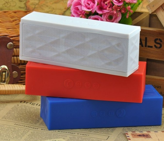 100pcs/lot jambox style bluetooh Speaker with Rechargeable Battery wireless bluetooth speaker system with Handsfree Mic(China (Mainland))