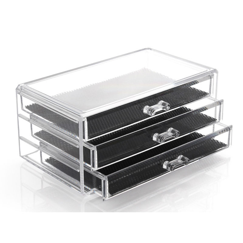 US Shipping 1pc Clear Acrylic Jewelry Cosmetic 3layer 3Drawer Organizer Storage Box For Makeup Display Rangement Maquill moa0008(China (Mainland))