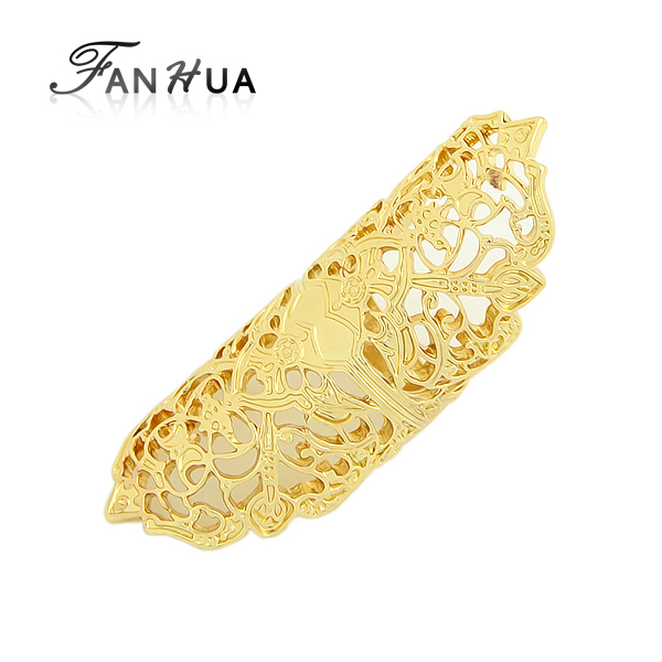Full Finger Ring Gold Bronze Silver Color Vintage Flower Finger Rings Hot Selling Gold Filled Jewelry(China (Mainland))