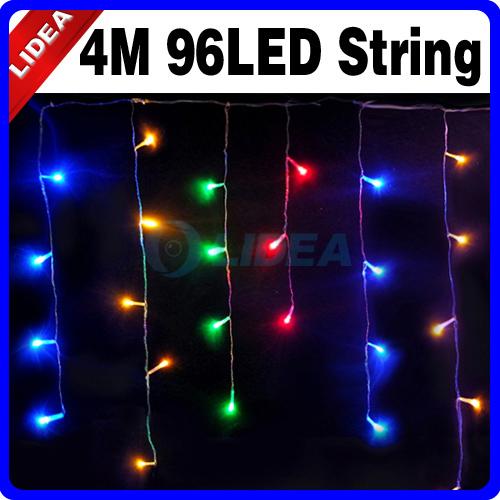 New 2014 Hot 4M 110V/220V 96 LED Colorful Icicle Christmas XMAS Christmas Holiday Outdoor Wedding Decoration Lights HK C-14(China (Mainland))