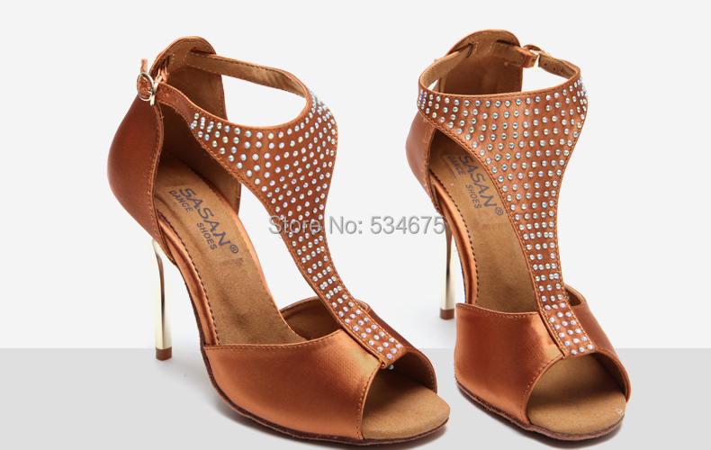 Top quality elegant diamond decorated gold plating high heel 9.5 cm latin and ballroom dance shoes for women(China (Mainland))