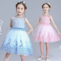 2017 sleeveless girl dress for wedding party flowers princess girls dresses children clothing summer lace patchwork