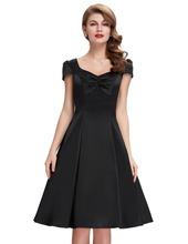 New Style 2016 Summer Womens Casual Dresses Retro Party 50s Black robe Vintage Dress Plus Size Cheap ladies Vestidos femininos(China (Mainland))