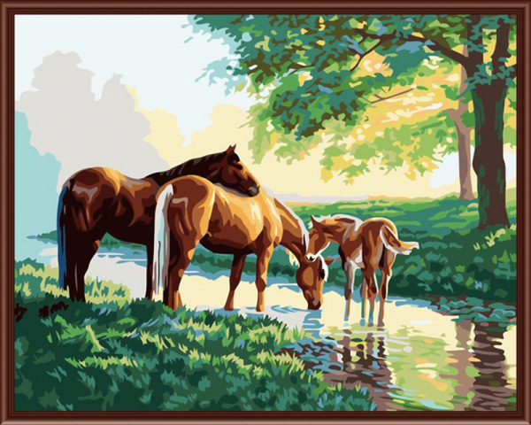Frameless picture on wall acrylic oil painting by numbers Three horses abstract drawing by numbers unique gift paint by numbers(China (Mainland))