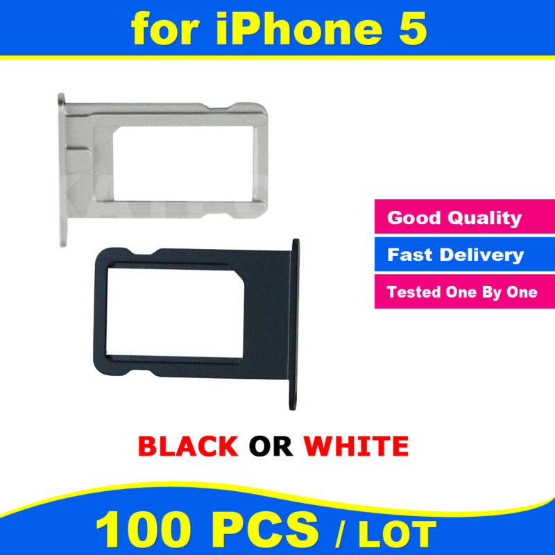 X 100 PCS LOT Black White Original New for iPhone 5 5G Sim Card Slot Tray Holder Replacement