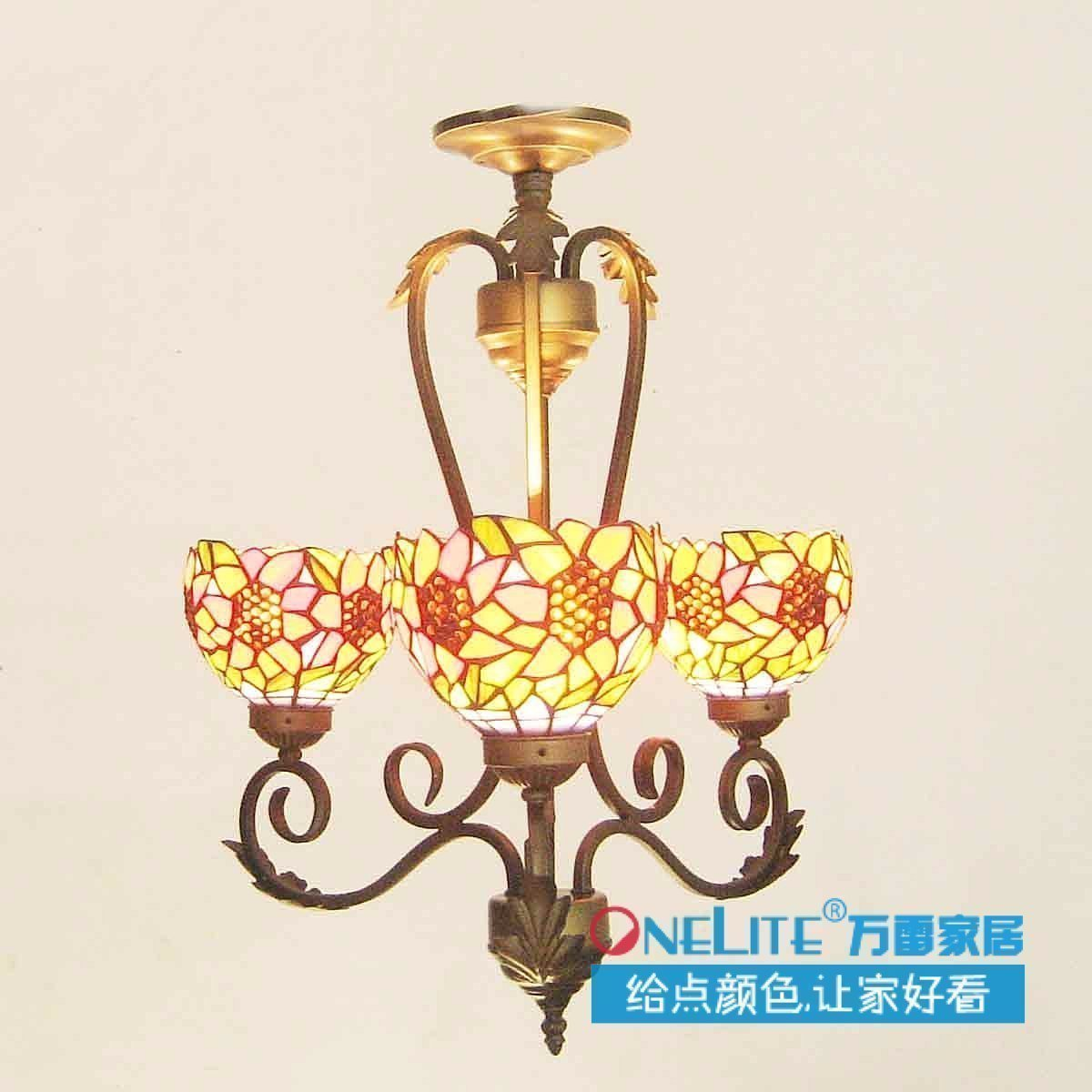 2014 promotion red glass no new arrival sunflower lamps restaurant lamp living room lights rustic pendant light free shipping(China (Mainland))