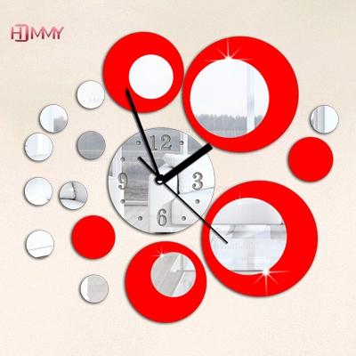 Red silver circle 3D crystal clock, modern design luxury fashion mirror wall 19 circular composite DIY stickers - YIWU MINO HOMEDCOR store