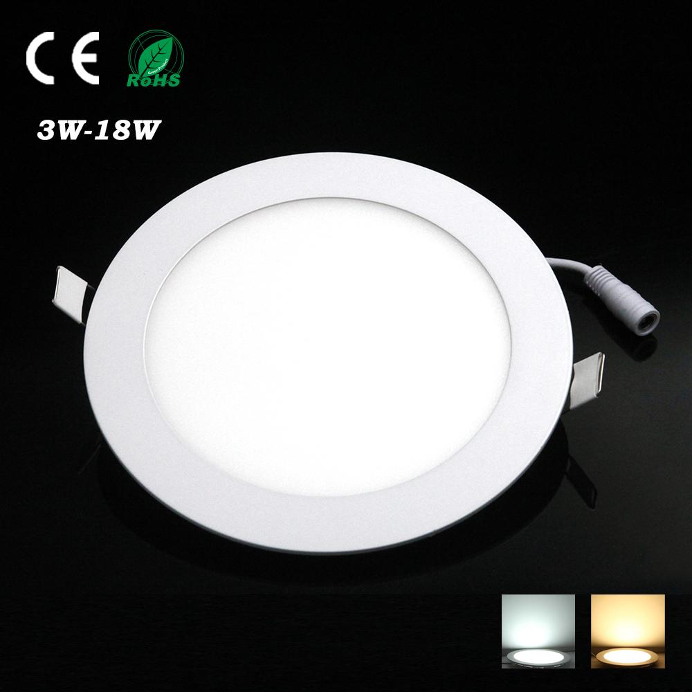 Round LED Downlight Panel Light AC85-265V SMD 2835 lamparas de techo 3W 6W 9W 12W 18W spot led luminaria led panel light(China (Mainland))
