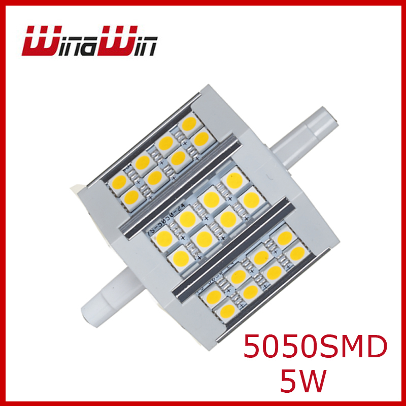 5W R7S Led Flood Bulb 78mm 24pcs 5050SMD Warmwhtie/White 60W Halogen Free Shipping(China (Mainland))