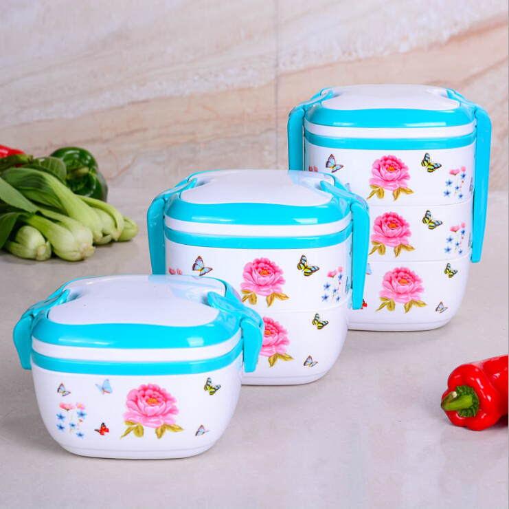 portable butterflies flower bento lunch box set heater lunch box plastic food containers. Black Bedroom Furniture Sets. Home Design Ideas