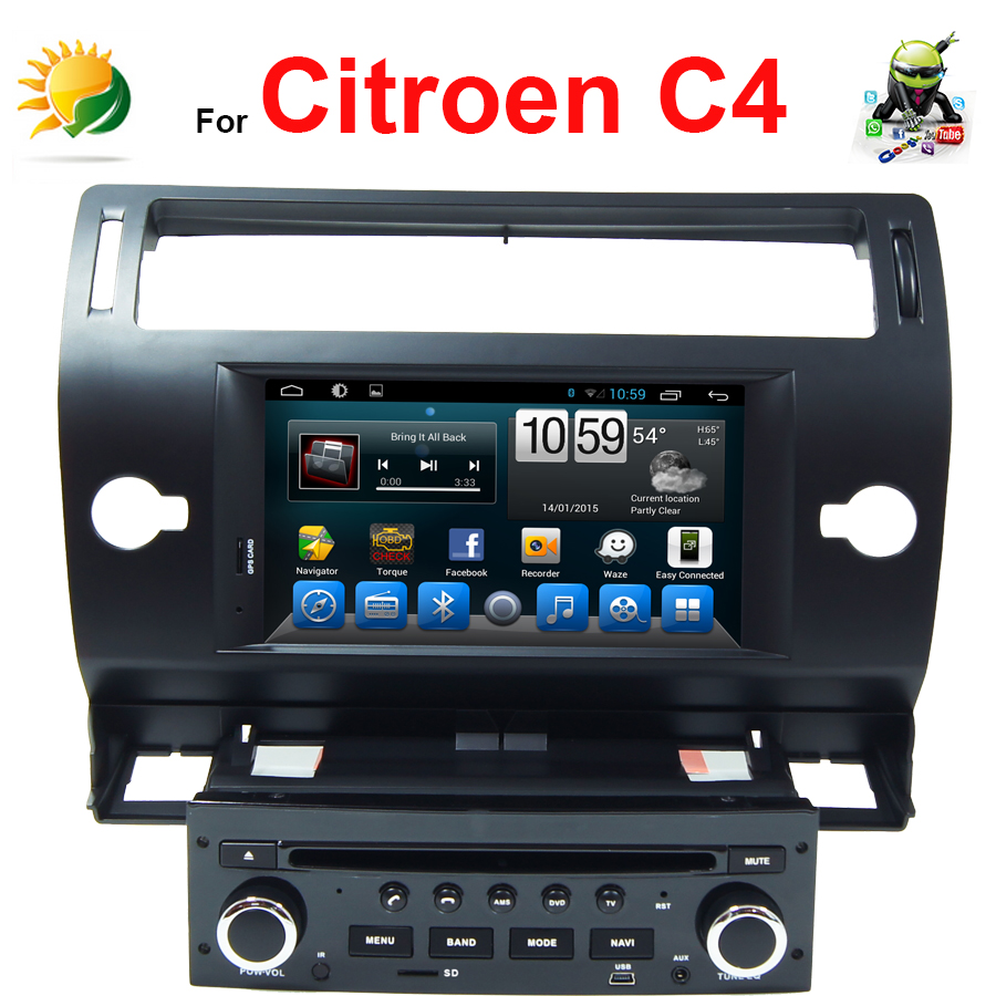 Android car stereo Citroen C4 dvd player GPS Navigation 3G Wifi TV Radio Bluetooth 7 inch touch screen audio - SunShine Car Accessories store