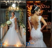 Free Custom Made New 2015 Backless Sweetheart Lace Beads Sexy vestidos de novia Mermaid Wedding Dress High Quality Free Shipping