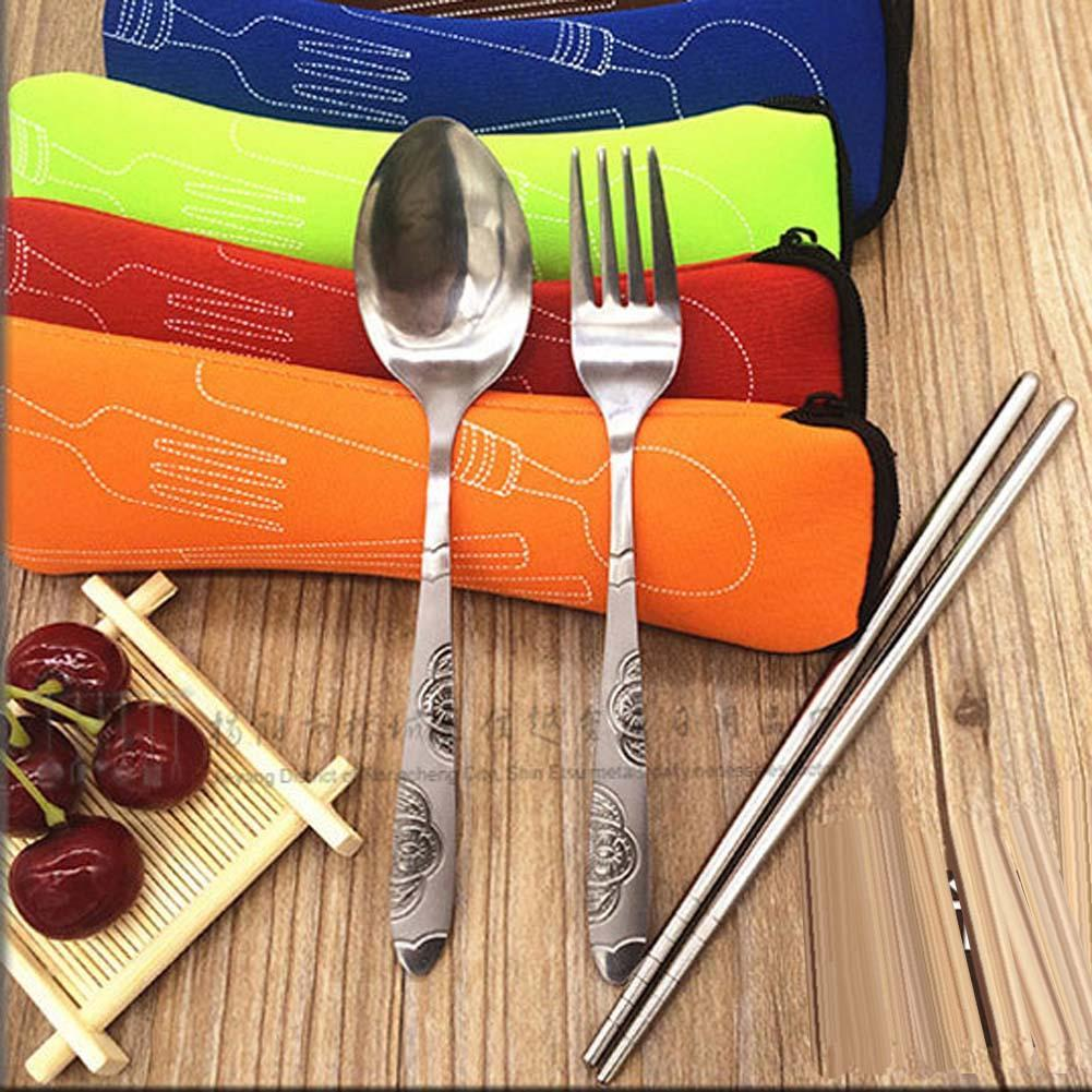 Outdoor Camping Cutlery Set 3PCS Portable Dinnerware Set Travel Picnic Tableware Chopstick Spoon Fork Soup Spoon Bag Orange(China (Mainland))