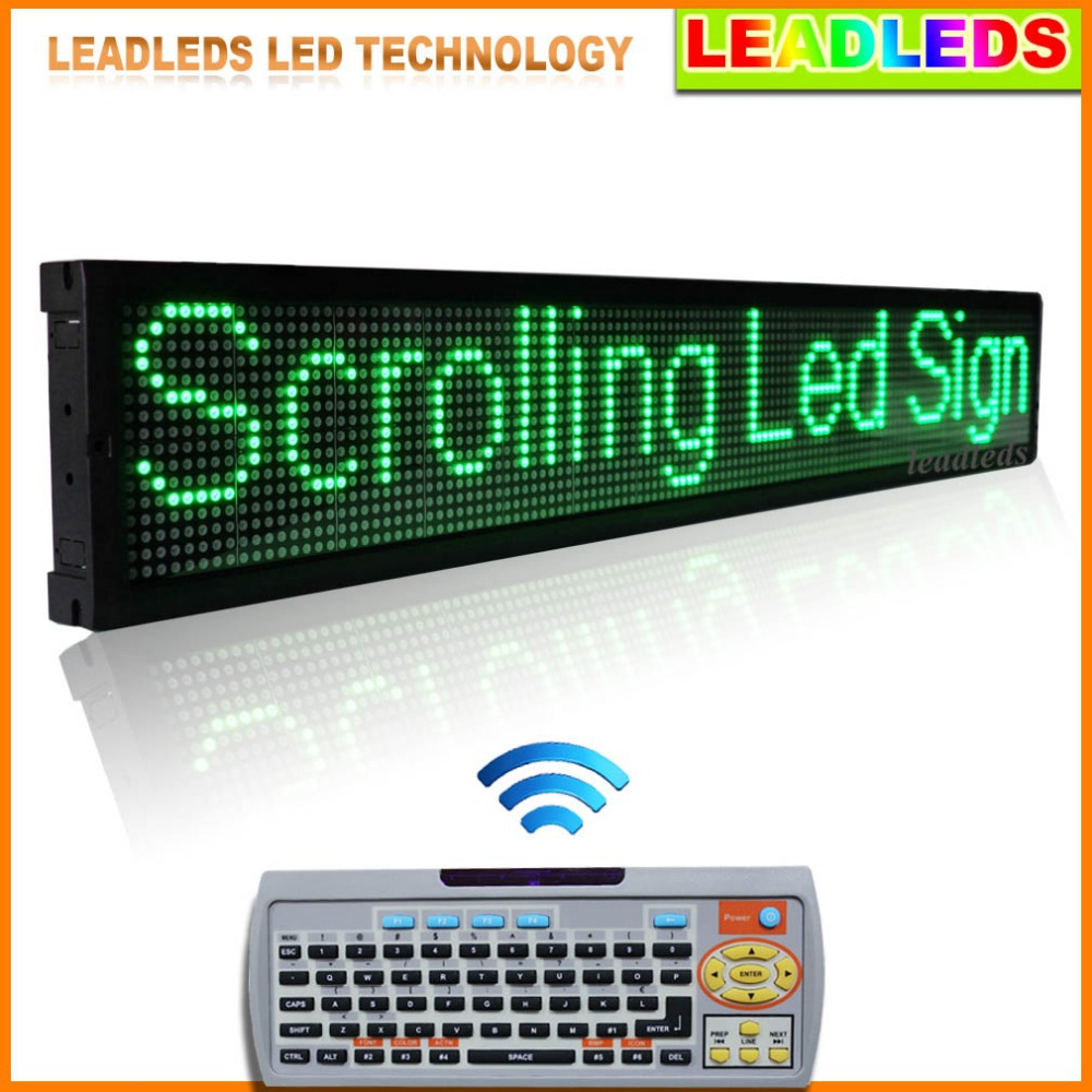 40x6.3 Inches IR Remote Control Programmable LED Scrolling Sign - Pure Green Message(China (Mainland))
