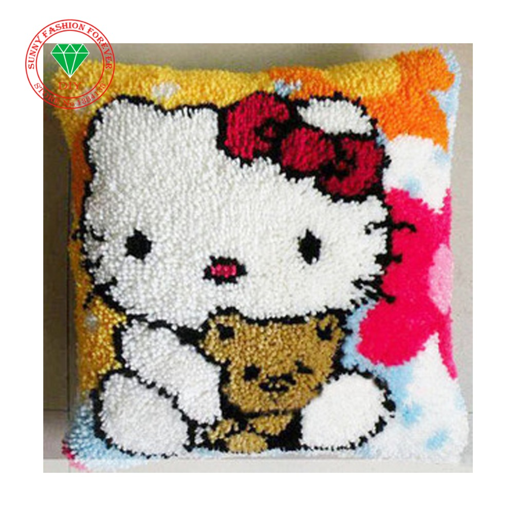 diy pillowcase embroidery Latch Hook Cushion Kits DIY Needlework Crocheting Throw Pillow Unfinished Yarn Embroidery Set Cartoon(China (Mainland))