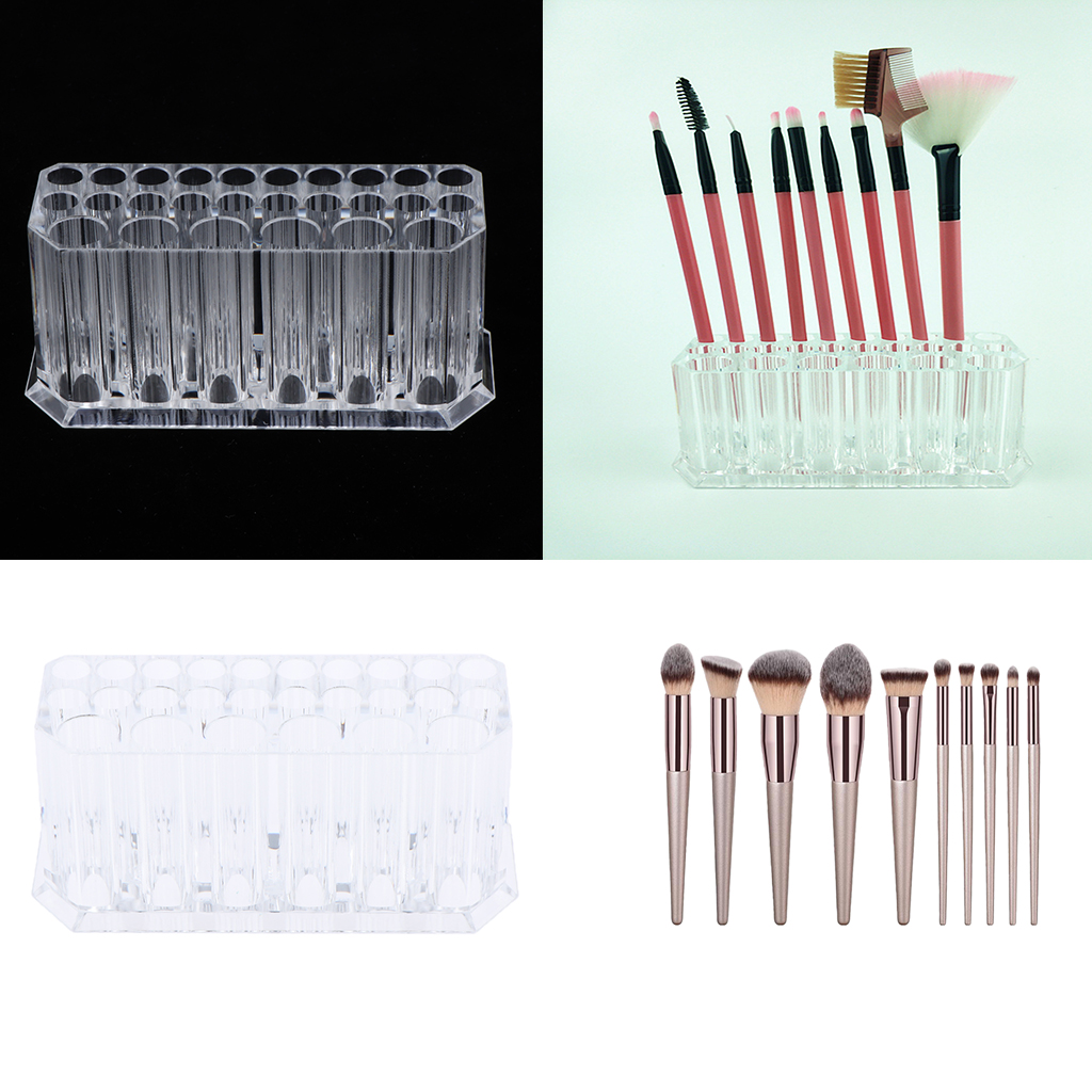 10pcs Makeup Brush & 1pc Cosmetic Organizer Holder Case for Cosmetics Brushes Eyeliner/Shadow/Brow Pen