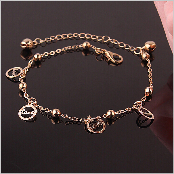 European Style Fashion Jewelry Letter Love Anklet For Women Foot Jewelry 18k Gold Plated Yellow