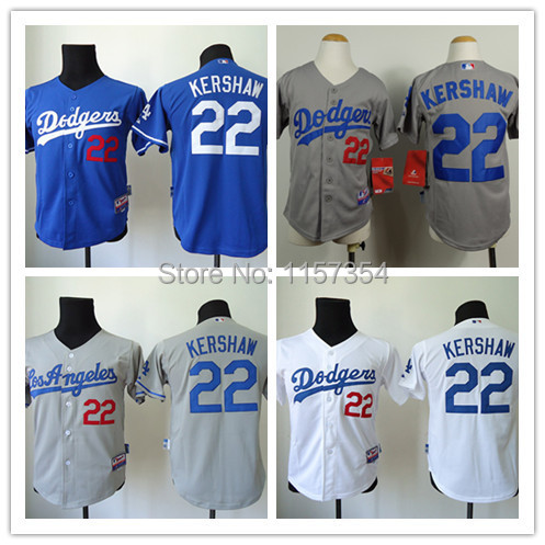 Hot Style Los Angeles Dodgers Youths Jerseys #22 Clayton Kershaw Baseball Jersey,Accept Mixed Orders,Size:S-XL,Embroidery Logos(China (Mainland))