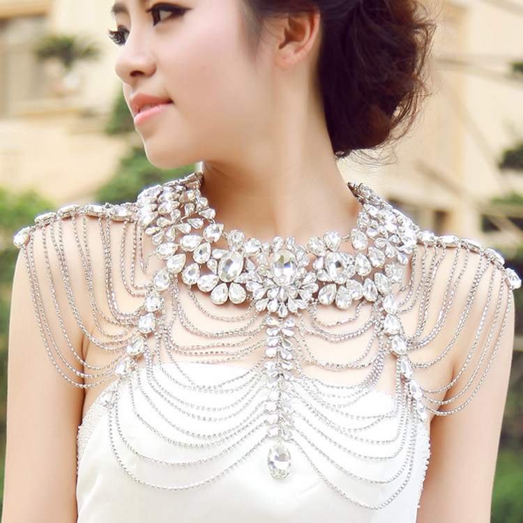 Luxury Rhinestone Body Chain Bridal Shoulder Collar Necklace Wedding Crystal Jewelry
