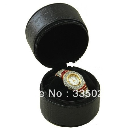 Small round portable watch box high quality leather watch case(China (Mainland))