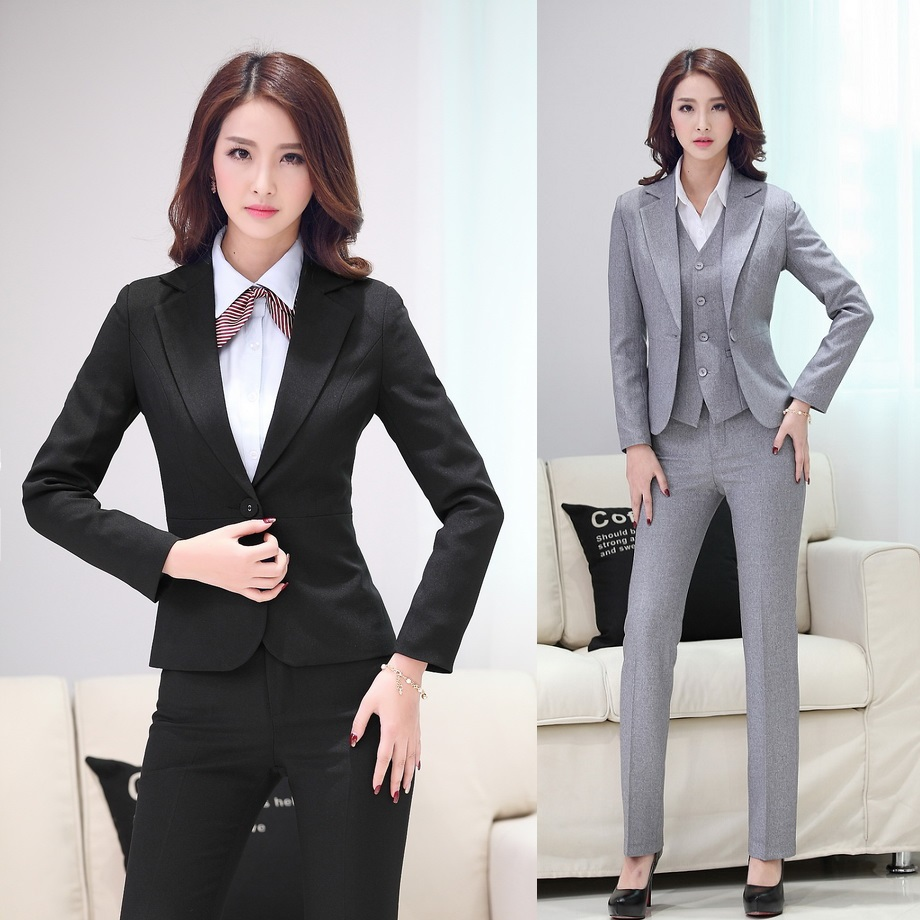 New 2015 Formal Women Pant Suits With Blazer And Jacket Sets Elegant Office Uniforms Styles ...