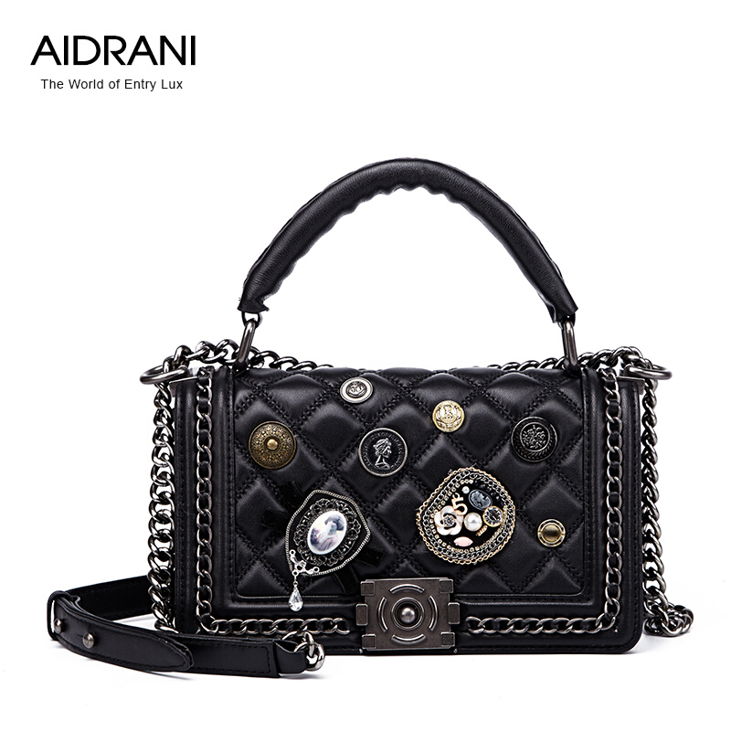 Aidrani Brand Women Handbags Top Quality Genuine Leather Bag Fashion Vintage Women Totes Quilted Chain Shoulder Messenger Bags(China (Mainland))