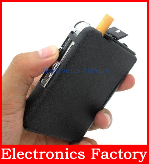 Windproof Magic Popup Pocket Ejection Cigarette 10pcs Smoke Auto Case Box Holder with Automatic Flame Oil Flint Lighter(China (Mainland))