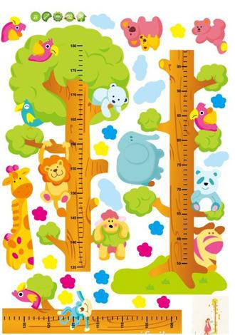 Kids Child Height Chart Measure Tape Wall Stickers Natural Animal Tree Vinyl Wallpaper House Decorative Decals Removeable(China (Mainland))
