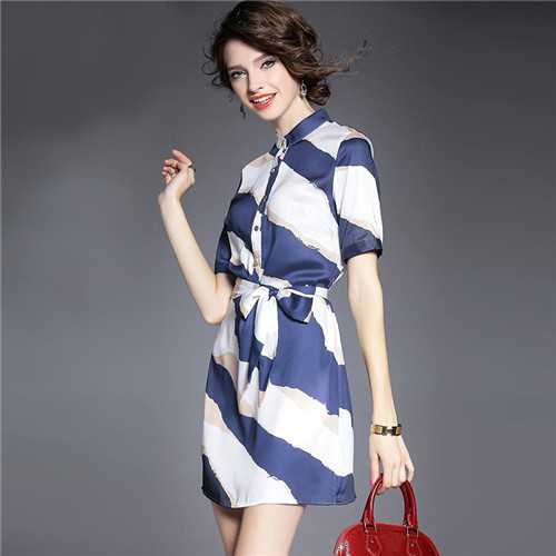 2015 Summer Style Office Formal Casual Striped Dresses Women Navy And White Strip Short Dress Business Womens Clothes Vestidos(China (Mainland))