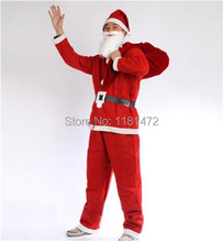 Christmas Santa Claus clothes complete set clothes pants hat beard belt Adult Non Woven Clothing Costume