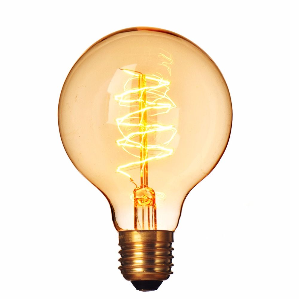 220v E27 40w Incandescent Bulbs Filament Light Vintage Retro Antique G80 Wire Wrap Industrial