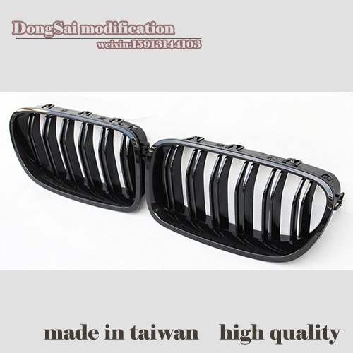 A Pair of Front Black Wide Kidney Grille Grill For F10 520li 523li 525 530i 535 2010-IN all black<br><br>Aliexpress