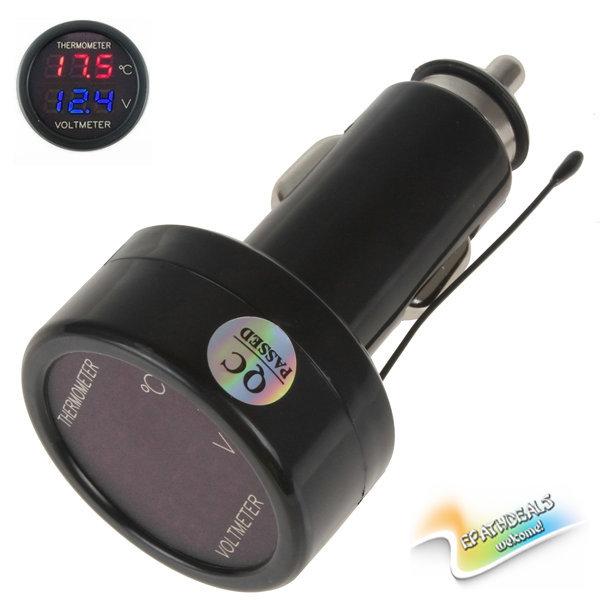 Sale!! Red Blue LED Digital Auto Car Battery Voltage Meter Thermometer Voltmeter Volt Tester Gauge Monitor + Temperature Sensor(China (Mainland))