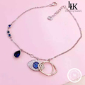 2016 Fashion Charm Jewelry Pure 925 Sterling Silver Anklets Bracelet For Women Evil Blue Eyes Sapphire