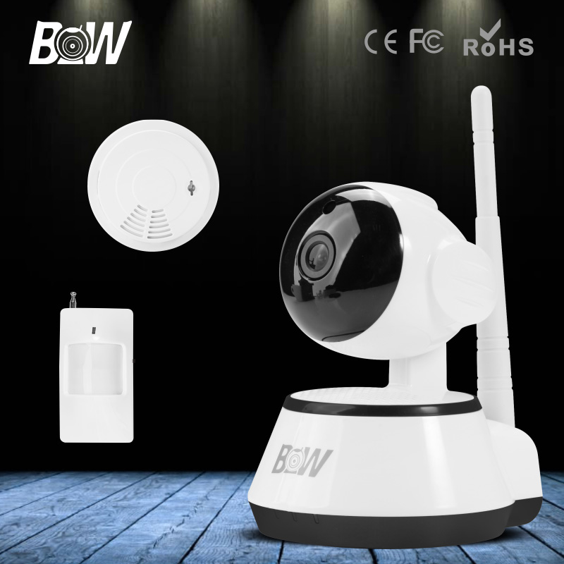 BW HD IP Camera 720P CCTV Wireless Wifi Alarm Systems 3.6mm Endoscope Security with Infrared Motion Sensor and Smoke Detector
