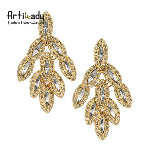 Artilady fashion crystal drop earrings luxury women earring jewelry 2014 new leaves design ear pins