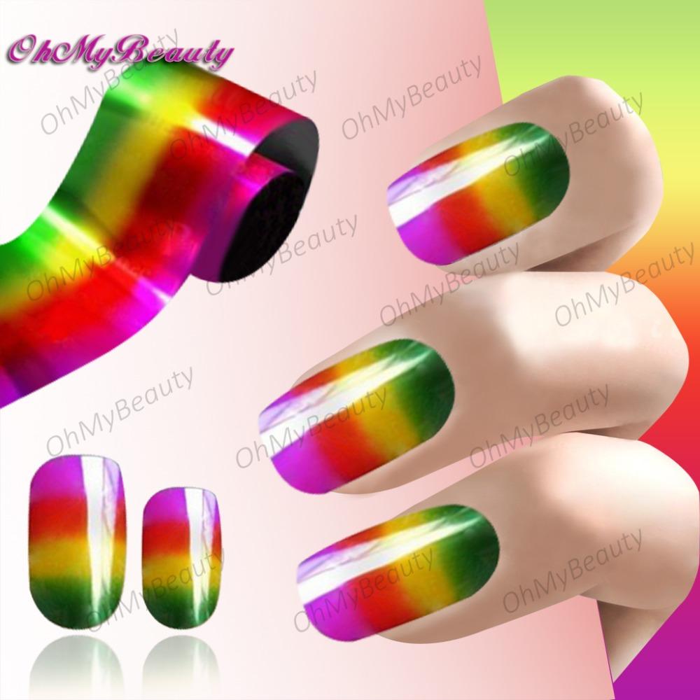 Moda efeito colorido prego transferência Art Foil Nail Sticker decoração dica fácil