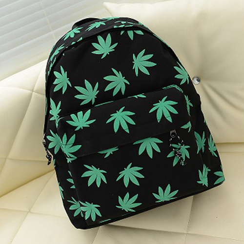 Hotsale Promotion 2015 New Cannabis leaf Backpack for Girl Boy Punk Rock Bag Canvas Student Schoolbag Casual Skateboard Bags(China (Mainland))