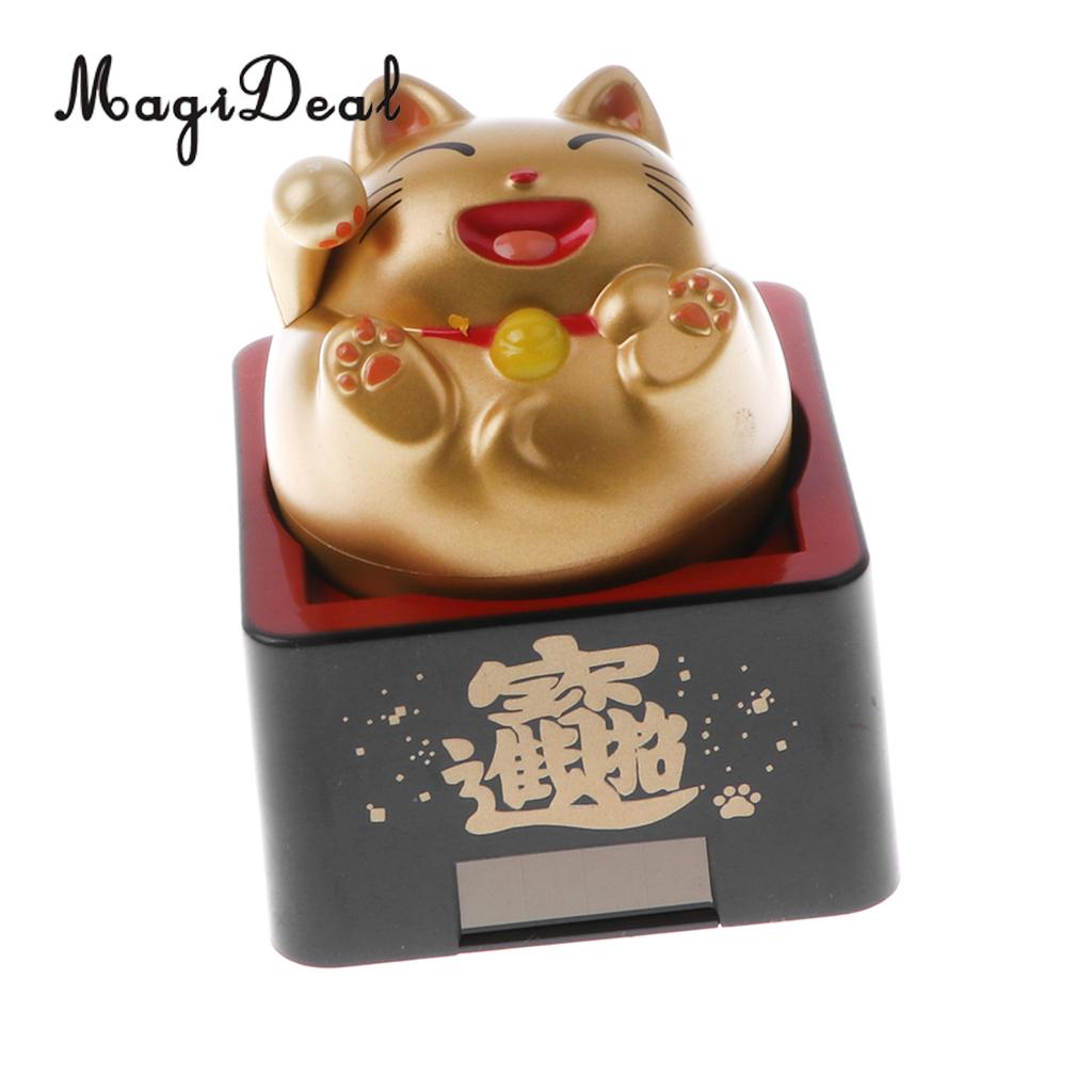 MagiDeal Solar Powered Bobble Head Toy Wave Good Lucky Cat Decor Ornament Hotel Shop Cafe Fengshui Ornament